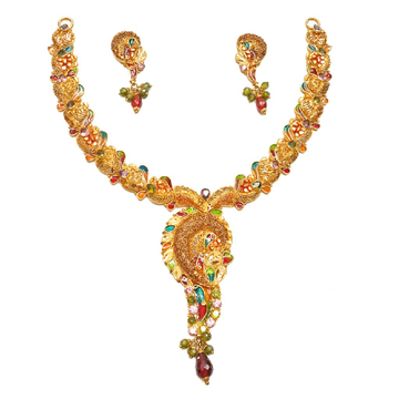 22k Gold Modern Style Minakari Necklace Set MGA - GN063