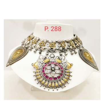 oxidised silver with Gold plated Flower work & Pink stone Choker Necklace 1673