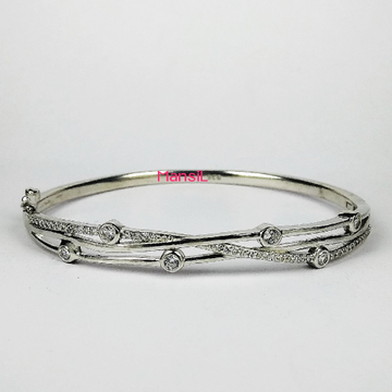 92.5 sterling silver cz stone Kada bracelet ML-77