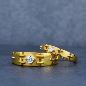 916 Engagement Plain Gold Couple Ring-CR08