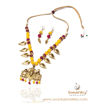 Goddess pendant with colorful beads necklace set s... by Swanky Jewellery