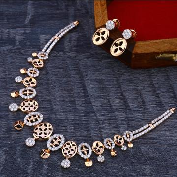 18Ct CZ Classic Diamond  Rose Gold Necklace Set RN169