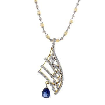 Blue Stone Diamond Pendant in 14k Yellow Gold 9SHP...