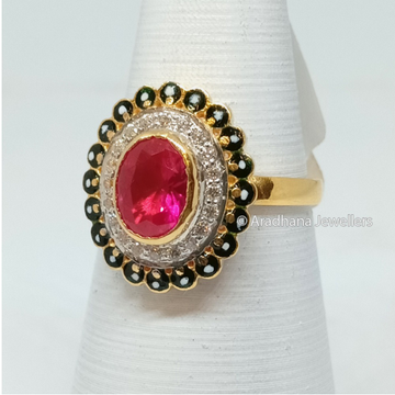 916 Gold Pink Stone Round Shape Ladies Ring