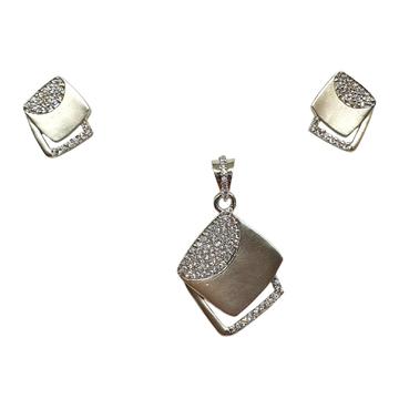 925 Sterling Silver Square Shaped Designer Pendant Set MGA -PTS0119