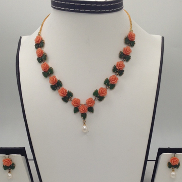 Orange Coral Flowers And Green Jade Leaves Necklac...