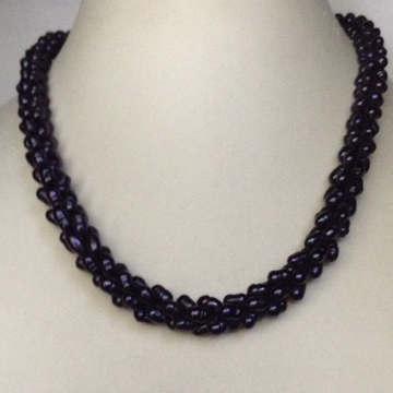 Fresh water black rassi rice pearls necklace