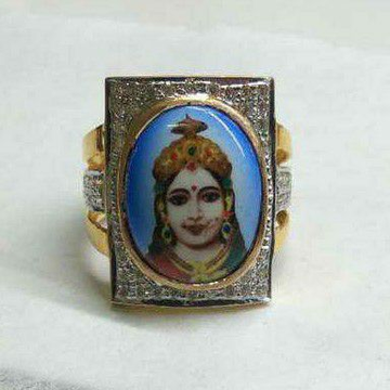 916 Gold Gents Chehar Maa Photo Ring