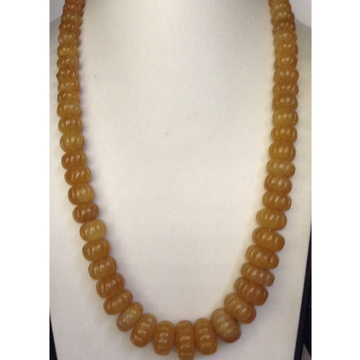 Natural Yellow Sapphire Round Carved Kharbuja Graded Beeds Mala