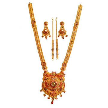 22k Gold Kalkatti Meenakari Flowers Necklace With...