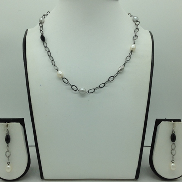 Freshwater WhitePearls and Black Semi Silver Necklace Set JNC0069