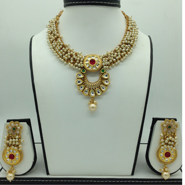 Multicolour Kundan and Pearls Jali NecklaceSetJN...