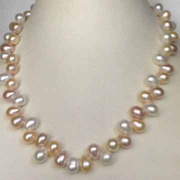 Freshwater tri colour oval zigzag pearls mala