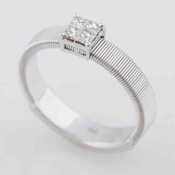 18KT White Gold Princess Cut Diamond Band