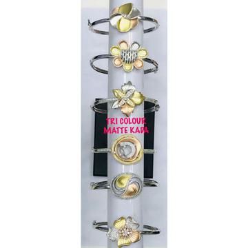 92.5 Sterling Silver Tri Colour Matte Rodyam Bracelet Ms-3084