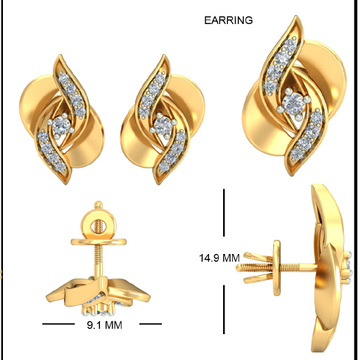 22Kt Yellow Gold Lambent Calypso Earrings For Women