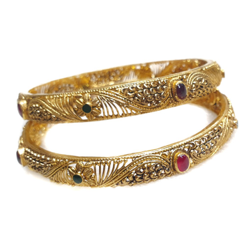 916 Gold Antique Kada Bangles MGA - GP075