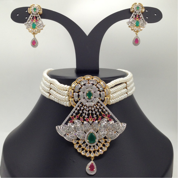 Tri Colour CZ And Pearls ChokerSet With 4Line FlatPearls Mala JPS0535
