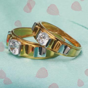 916 Gold Single Stone Couple Ring PJ-R008