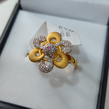 Ladies flower design CZ ring by Parshwa Jewellers