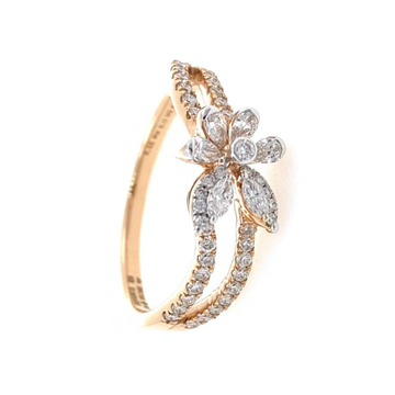Flower & Petal Design Diamond Ring for Ladies in 18k Rose Gold 0LR24