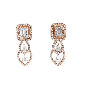 Marvellous diamond drop earrings in 18k hallmark r...