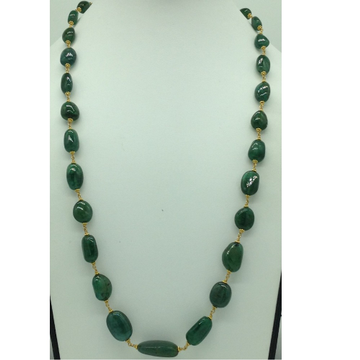 Green Emerald Oval Tumbles Gold Taar Necklace JGT0007