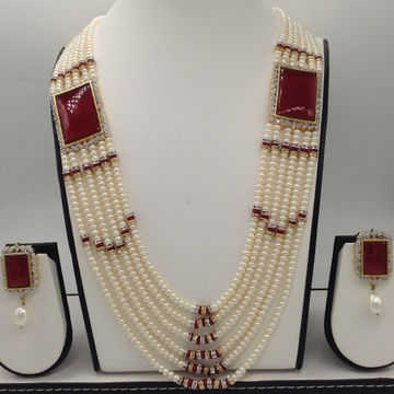 White cz and red onyx brooch set with 6 lines flat pearls mala jps0478