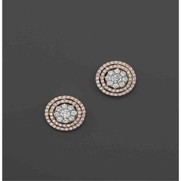 18KT Gold Round Shape Flower Designer Diamond Earring