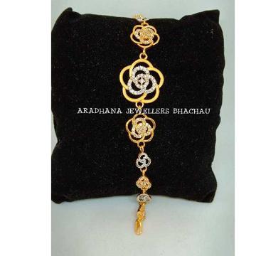 22KT Gold Ladies Flower Design Diamond Bracelet