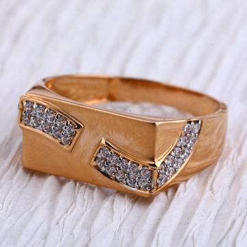 750 Rose Gold Hallmark fancy Mens Ring RMR88