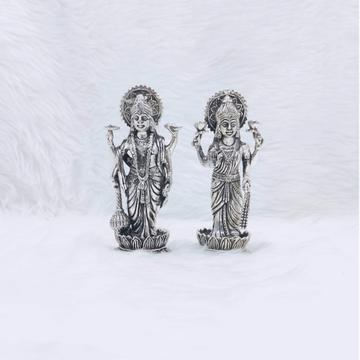 real silver idol of vishnu and laxmi ji studded wi...