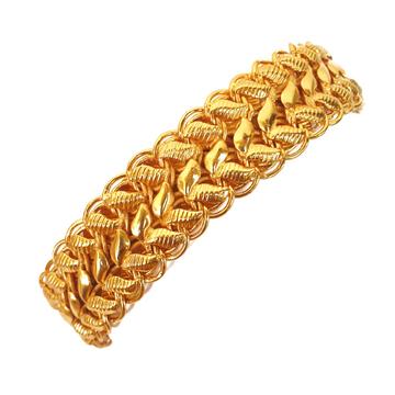 One gram gold plated lotus bracelet mga - bre0084