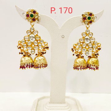 Unique style kundan design jhumka earring with red pearl  1695