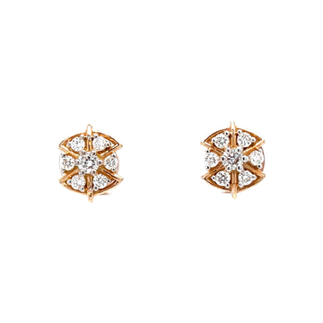 Seven diamond star stud with pizza shape design in...