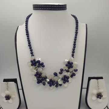 Freshwater Black PotatoPearls And MOP FlowersJaali Necklace Set JPP1033