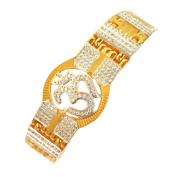 One gram gold forming omkar cz diamond gents bracelet mga - bre0032