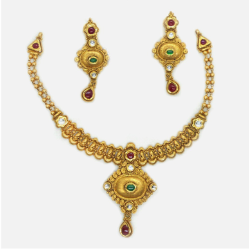 916 Gold Antique Bridal Necklace Set RHJ-4330