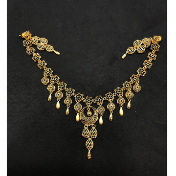 22K Gold Trendy Necklace Set by