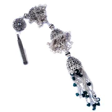 Long size antique rajwadi designer silver juda mga - jus0042