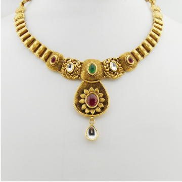 916 Gold Kundan Bridal Necklace Set RHJ-3286