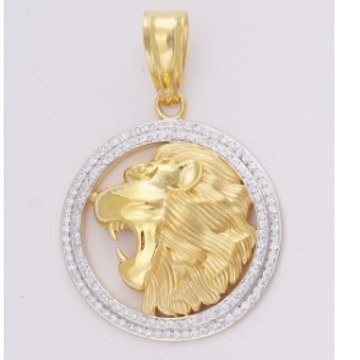 22KT Yellow Gold Lion Shaped Machine Cut Pendant