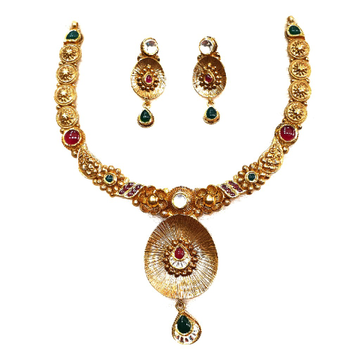 916 gold antique necklace set mga - gn007