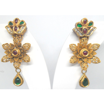22KT / 916 Antique Jadtar flower shape Earrings for ladies BTG0480