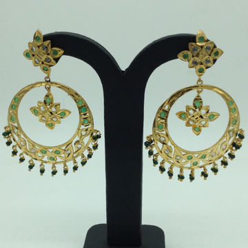 White and GreenCZ Stones Ear Chand BaliJER0028