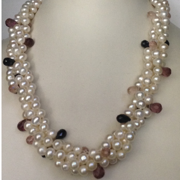 Freshwater White Potato Pearls 4 Layers Twisted Necklace with Amethyst Faceted Drops
