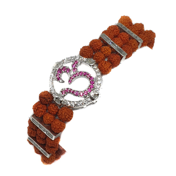 925 sterling silver three line rudraksha om bracelet mga - brs0105
