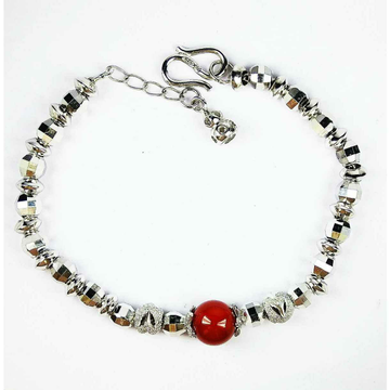 925 Silver Ladies Bracelet With Red Ball Stone