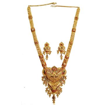 22k Gold Kalkatti Meenakari Necklace Set MGA - GLS034