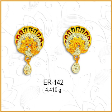 916 Gold CZ Peacock Design Earring ER-142